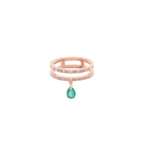 Diane Kordas Spectrum 18kt Rose Gold Diamond Emerald Ring