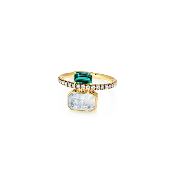 Moritz Glik Emerald and Diamond Kaleidoscope Shaker Ring