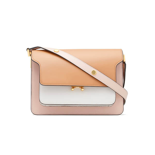 Pink, peach, and white colored purse