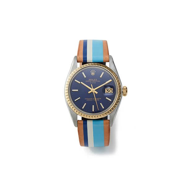Navy with gold hardwear watch multicolor band