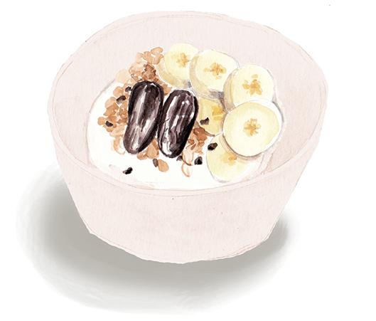 Choco-Banana-Date breakfast