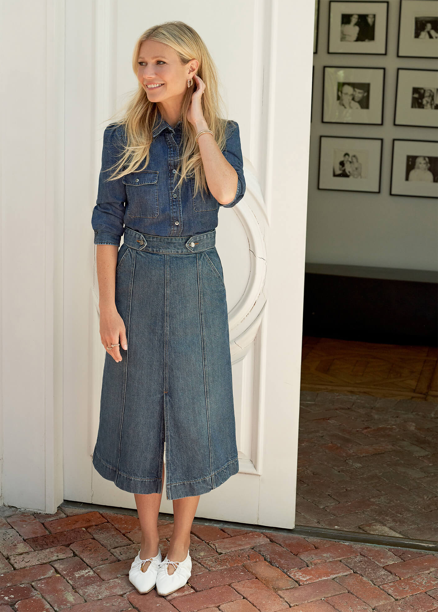 Gwyneth Paltrow with the Greer A-Line Mid-Length Skirt