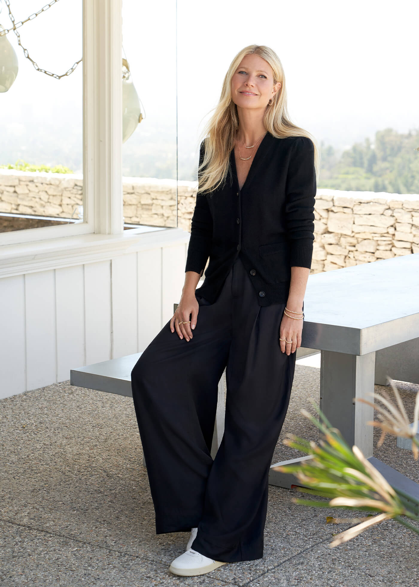 Gwyneth Paltrow with the Kelly Wide-Leg Trousers