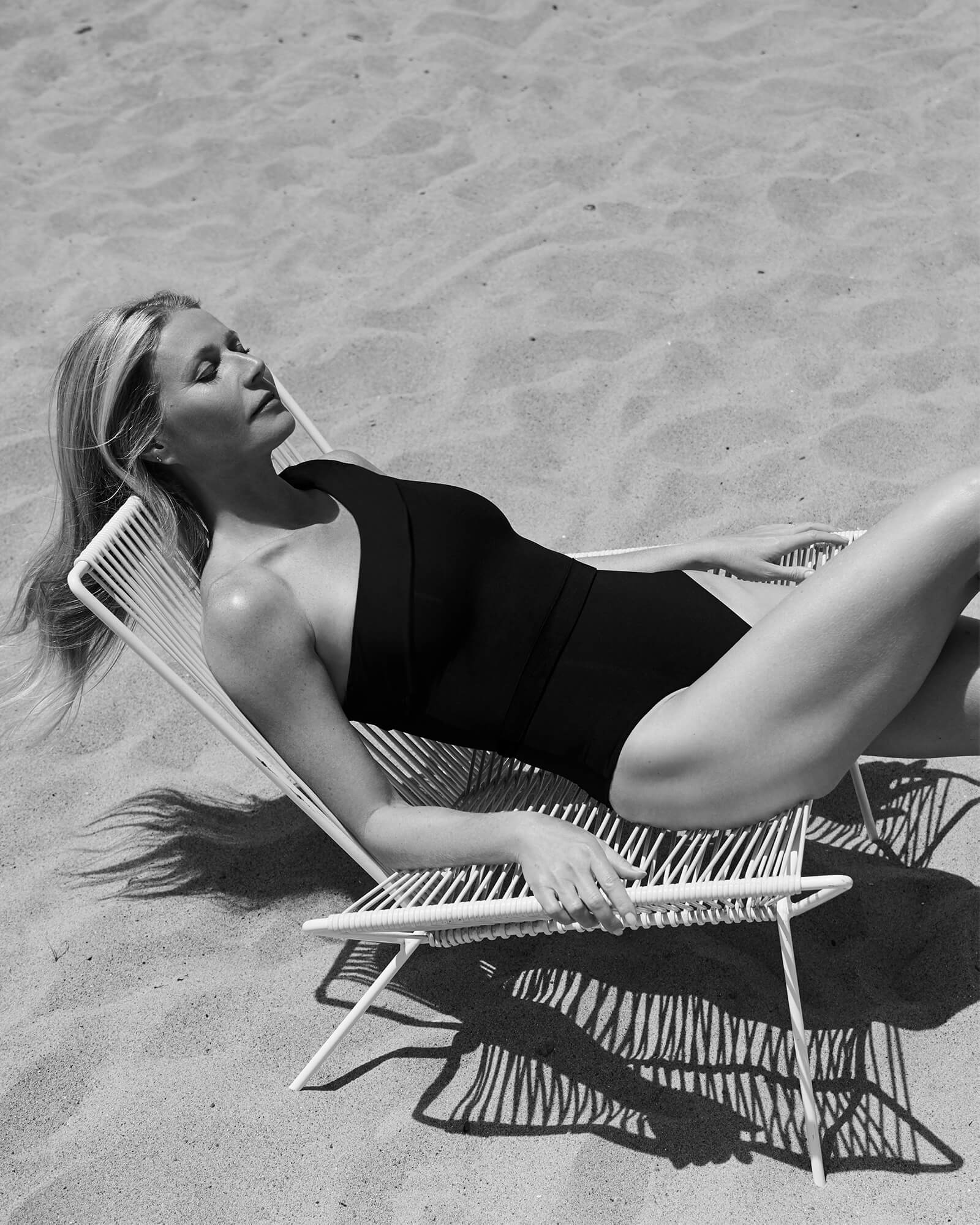 Gwyneth Paltrow with the One-Shoulder Belted One-Piece