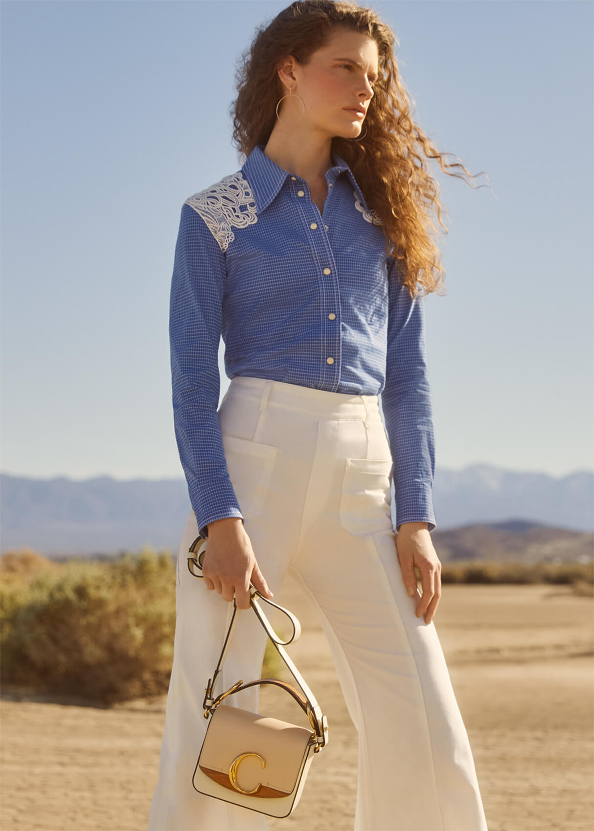 chloe lace-shoulder western shirt and goop x chloe c shoulder bag