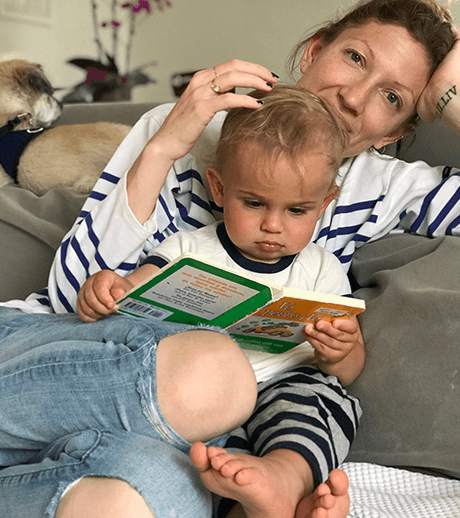 Kate Wolfson and Son Reading