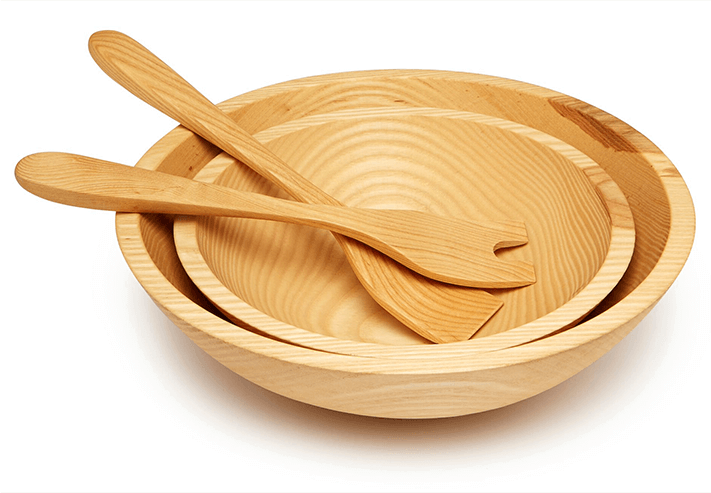 Farmhouse Pottery Crafted Wooden Bowls and salad servers