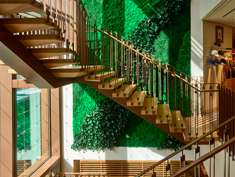 HERMÈS LIVING MOSS WALL AT THE FLAGSHIP STORE                         IN HONOLULU, HAWAII