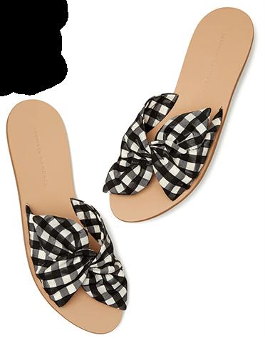 black+white sandal slides