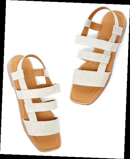 white linen sandals