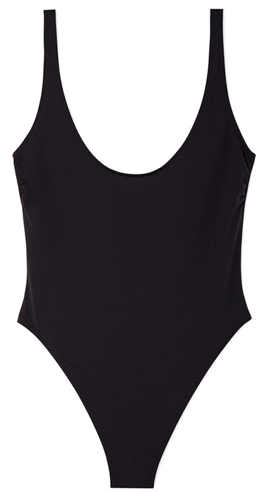 black scoop neck one-piece