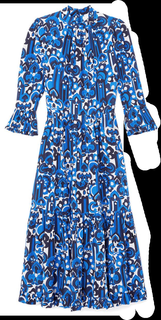 Blue floral longsleeve dress
