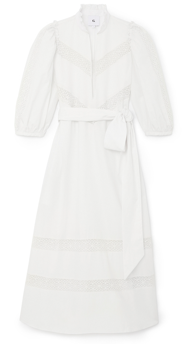 G.Label Lace-Trim Puff-Sleeve Cover-Up Dress