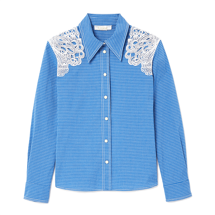 Chloé lace-shoulder western shirt