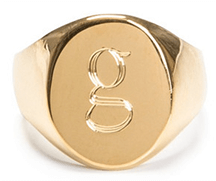 Gold pinky ring with initial