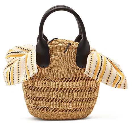 Straw bag with black handles printed fabric attached