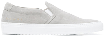 Light gray slip on sneakers with white rubber soles