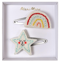 One star and one rainbow hair clip