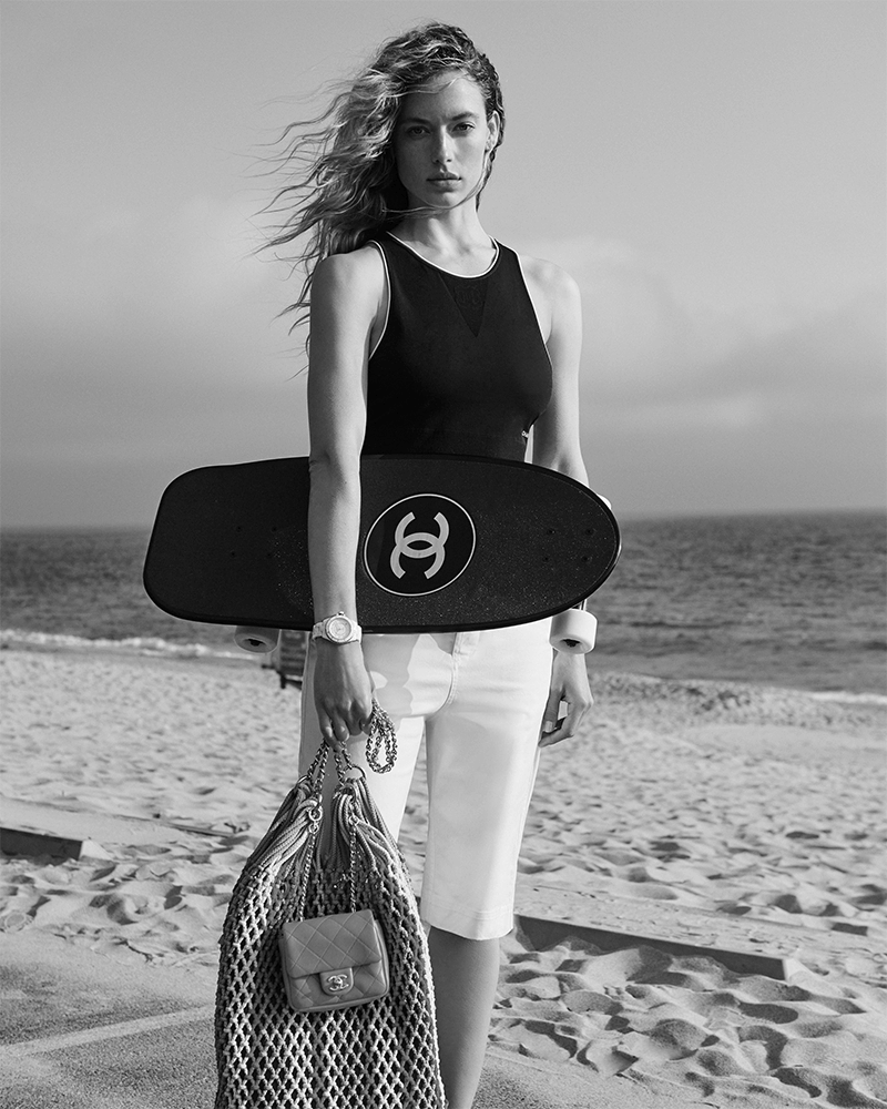 CHANEL skateboard and bag