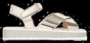 Grey and metallic plateform cross cross strapped sandal