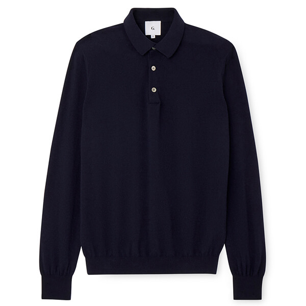 Navy blue men's collared sweater