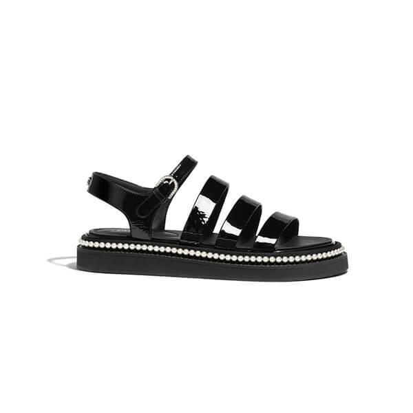 CHANEL black patent sandals