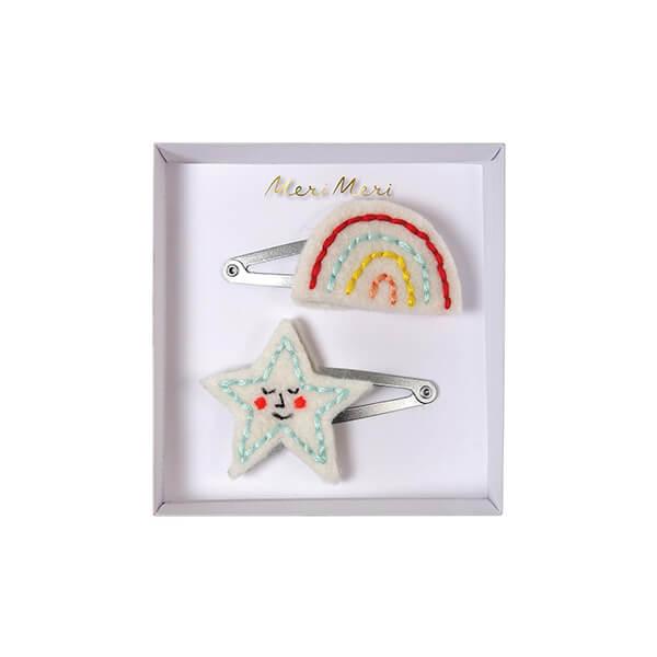 One star and one rainbow hair clip
