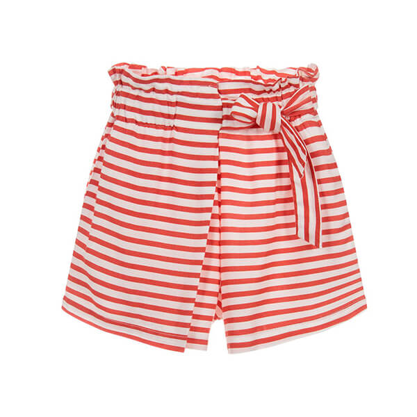 Red and white striped shorts with one side tie