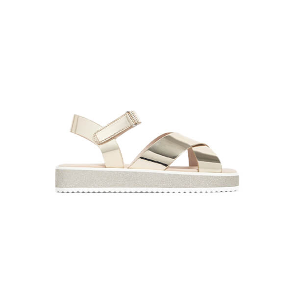 Grey and metallic plateform cross cross strapped sandal
