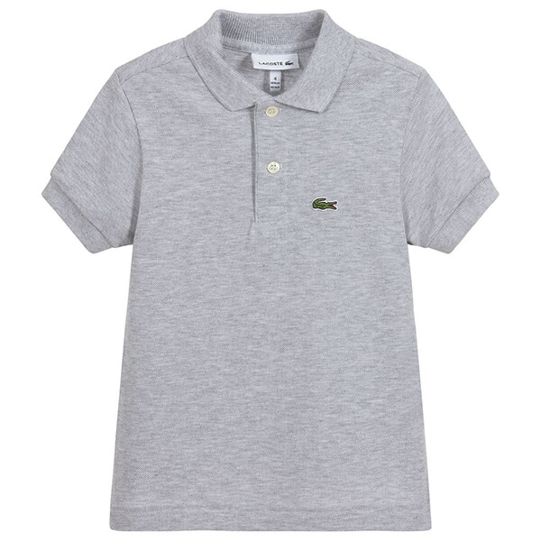 Grey cotton collared shirt with alligator patch