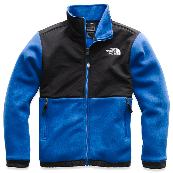 Blue and black fleece zip up jacket