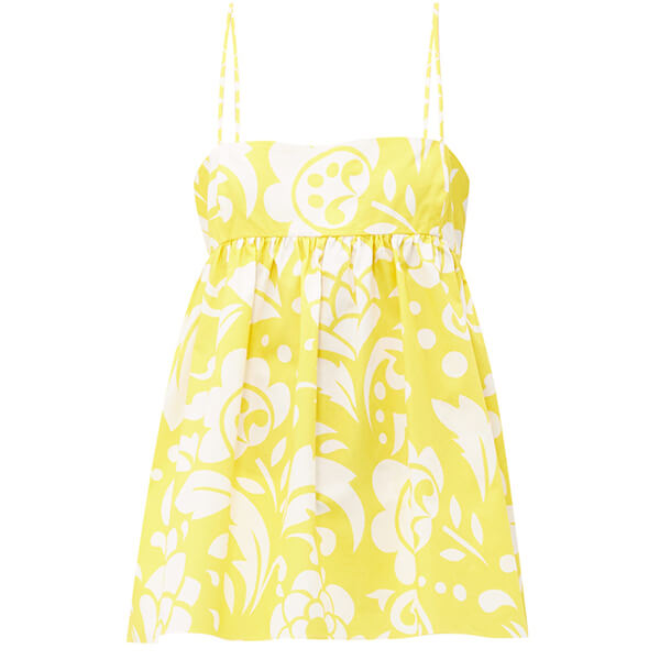 Yellow and white printed top with thin straps