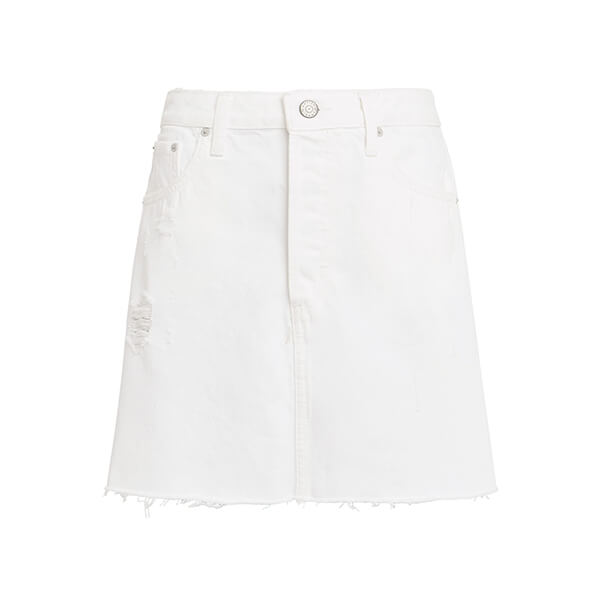White short denim skirt with frayed edges