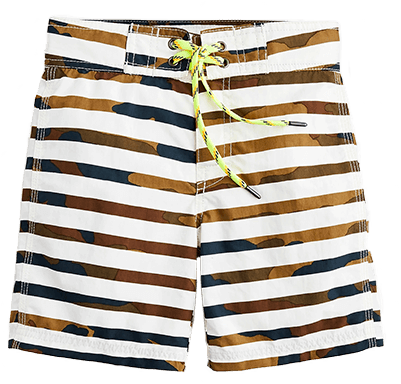 Brown camo and white striped swim shorts