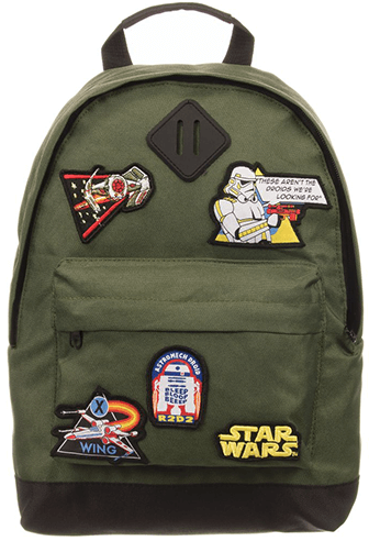 Small army green backpack with star wars patches
