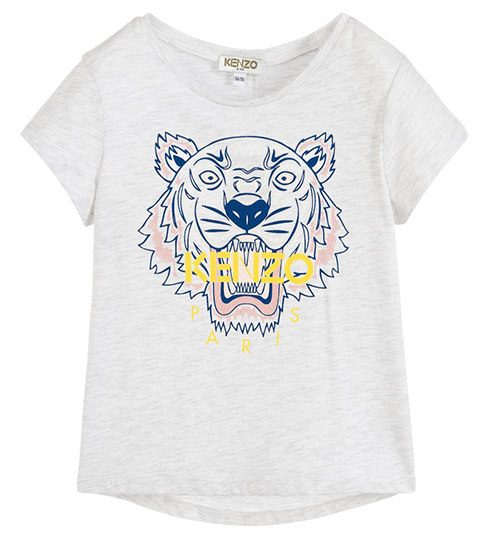 Tshirt with blue and pink lion and Kenzo written in yellow