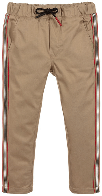Beige pants with black drawsting and red, white and black srtipe down the sides