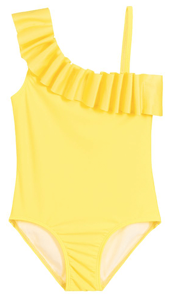 Yellow one shoulder with frill swimsuit
