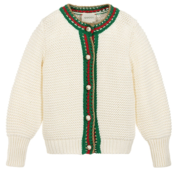 Ivory cardigan with buttons and green and red detailing