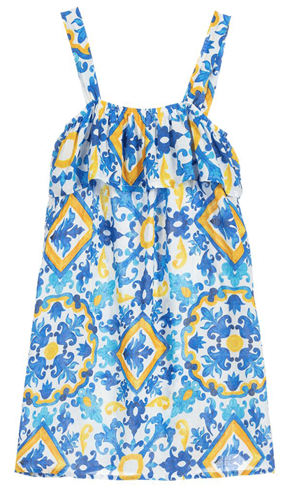 White, blue and yellow abstract printed sun dress