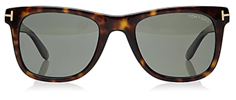 Tortoise shell colored square sunglasses with dark gray lenses