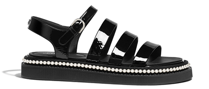 CHANEL black patent sandals