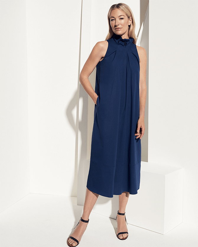 Chase Tie-Neck Mid-Length Dress