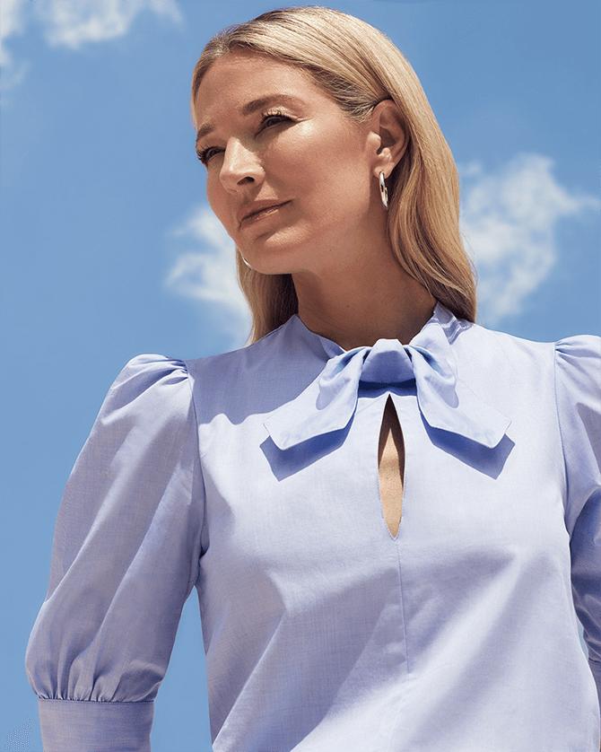 Peri Tie-Neck Short-Sleeve Shirt