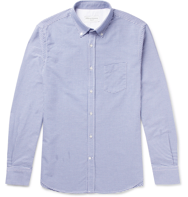 Blue checkered men's collared long-sleeve shirt