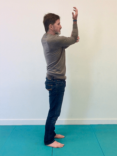 Top of shoulders and neck fascia stretch