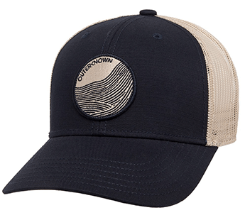 Blue men's baseball hat with circle logo on front