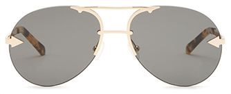 Sunglasses with dark lenses and gold and tortoise hardware frame