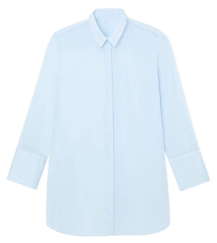 3/4 sleeve baby blue button down with collar