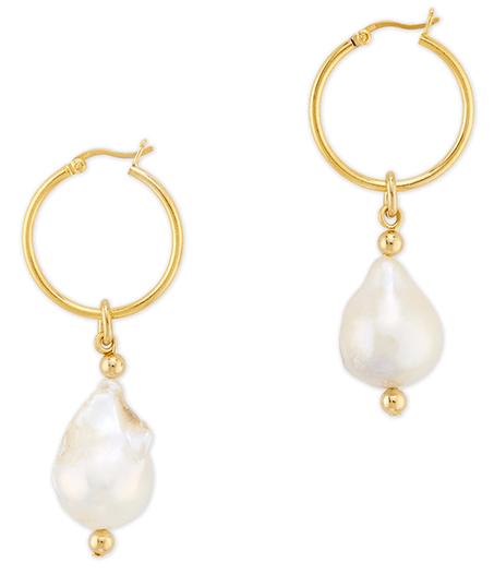 Gold hoop earrings with dangling pearl